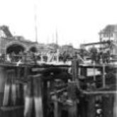 Foto - vernielingen - Sint-Annabrug - noodbrug - Aalst - 1940