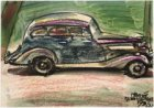 Geparkeerde auto, gezien vanuit het pand Stadhouderskade 92. Gesigneerd Martin M…