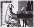 Lida Polak, actrice en journaliste. Zittend aan het clavecimbel. Techniek: houts…