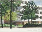 Een van de appartementengebouwen aan de Guggenheimlaan en Topkapipad, gezien van…