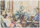 Familietafereel: Alice Monnickendam met Ruth en Roos in de huiskamer van Grensst…