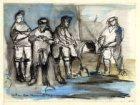 Vier mannen bij zandopspuiting
