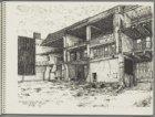 De achterzijde van het gedeeltelijk gesloopte voormalige gebouw van de Burgerlij…