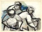Drie mannen bij zandopspuiting