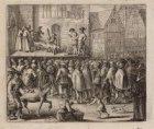 Executie op de Dam naar aanleiding van het Wederdopersoproer. Techniek: gravure