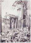 Luisterend publiek in Arti et Amicitiae. Gesigneerd Martin Monnickendam 1919 l.b