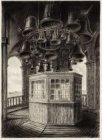 Interieur van de koepel van het Koninklijk Paleis op de Dam, met gezicht op het …