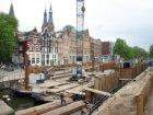 Damwand in verband met nieuwe wallekant in de Korte Prinsengracht gezien in zuid…