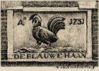 Gevelsteen De Blauwe Haan met jaartal 1731 in Sint Nicolaasstraat 48