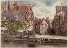 De Nieuwezijds Kolk met het Korenmetershuisje, omstreeks 1880