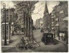 Van der Helstplein met rechts bij de 2e van der Helststraat de Oranjekerk in de …
