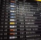 Solari split-flapbord op Schiphol met ratelende draaiende bordjes met vertrekinf…
