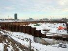 Besneeuwede  bouwput voor nieuwbouwwoningen in het Westerdok