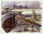 Bouwput van de IJtunnel in Amsterdam-Noord gezien in de richting van de brug bij…