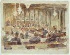 Raadszitting in het Stadhuis, Oudezijds Voorburgwal 195-201. Techniek: penseel i…