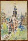 Gezicht op de Munttoren en het Muntgebouw. Gesigneerd Martin Monnickendam 1939 r…