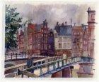 Tijdelijke voetgangerbrug i.v.m. restauratie Torensluis met op de achtergrond Si…