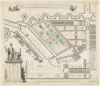 Caarte waar in vertoont werd de platte grond van de Nieuwe Plantage, tussen de H…