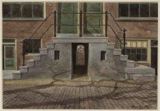De stoepen van Egegelantiersgracht 203-213 met daaronder de toegang tot het Cath…