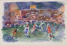 Olympisch Stadion. Voetbalwedstrijd Nederland-Oost Duitsland bij avond. Techniek…