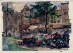 Rembrandtplein 3-11 vanaf het Rembrandtplantsoen met links  de ingang van de Hal…