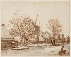 De Lijnbaansgracht met de molen De Victor; verso: schets van een pauw