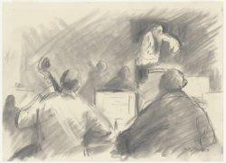 Een dirigent in het Concertgebouw met musici. De tekening maakt deel uit van de …