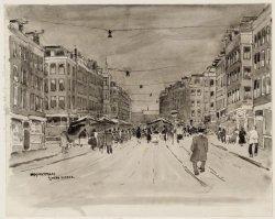 """Dapperstraat met markt, gemaakt naar aanleiding van het gedicht """"Domweg gelukkig…"""
