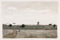 Stads Rietlanden gezien in zuidwestelijke richting; achter de spoordijk de toren…