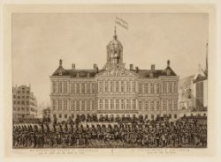 Het Koninklijk Paleis te Amsterdam aan de zijde van den Dam te zien