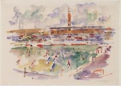 Voetbalwedstrijd D.W.S.-Fortuna, gezien vanuit vak ML in het Olympisch Stadion. …