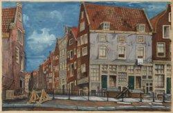 Zwanenburgwal 1-5 hoek Joden Houttuinen met op de voorgrond de Sint Antoniesluis
