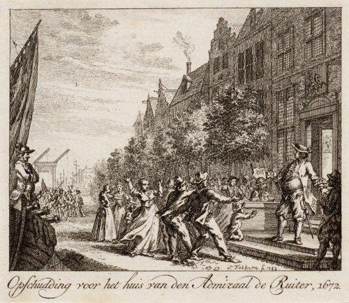 Beeldbank stadsarchief amsterdam een woedende menigte voor het huis van admiraal michiel de - Lay outs rond het huis ...