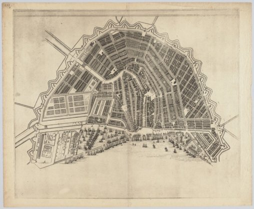 Kaart van Amsterdam op schaal ca. 1:7.500, vermoedelijk een proefdruk door Reinier en Josua Ottens