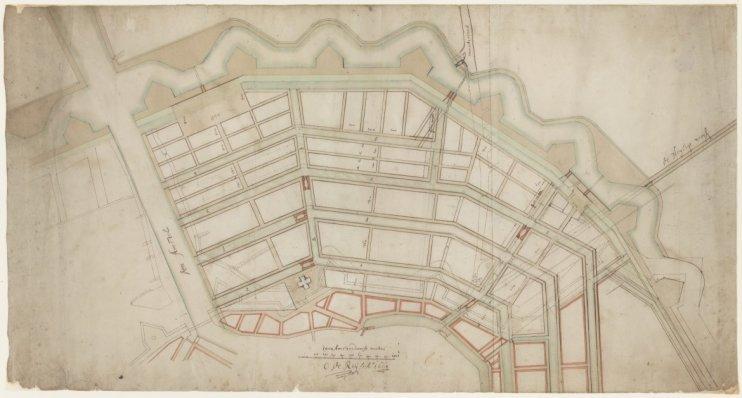 Kaart van de geplande uitbreiding van de stad tussen de Leidsegracht en De Amstel