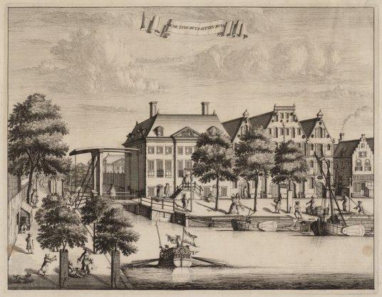 Het gebouwencomplex van het Oudezijds Huiszittenhuis (Oude zijds Huys-sitten huys) op Waterlooplein 67 (rechts naast brug)