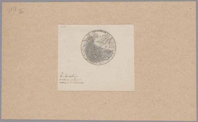 Cirkelvormige kaart van Amsterdam op schaal ca. 1:120.000