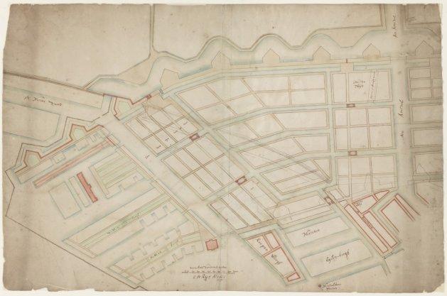 Kaart van Amsterdam Oost vanaf de Amstel tot de Oostelijke Eilanden met ontwerp voor een indeling van de Nieuwe Plantage die er niet gekomen is. Getekend door Cornelis de Rij. Oriëntatie: zuid boven