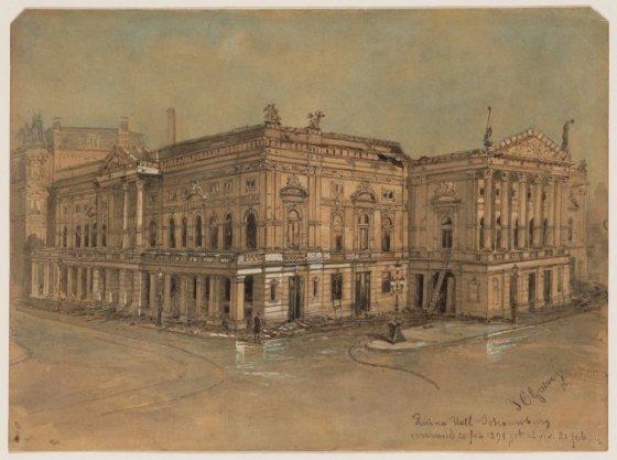 Ruïne Hollandsche Schouwburg na de brand van 20 februari 1890