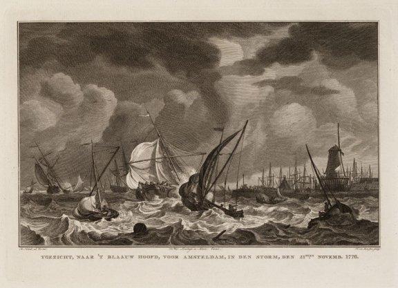 Ygezicht, naar 't Blaauw Hoofd, voor Amsterdam, in den storm, den 21sten Novemb. 1776