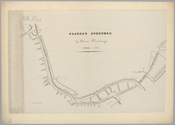 Paarden spoorweg. Lijn Dam-Plantage. Schaal 1 : 1250