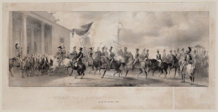 Intrede van Z.M. in de Willemspoort te Amsterdam, op den 27 November 1840
