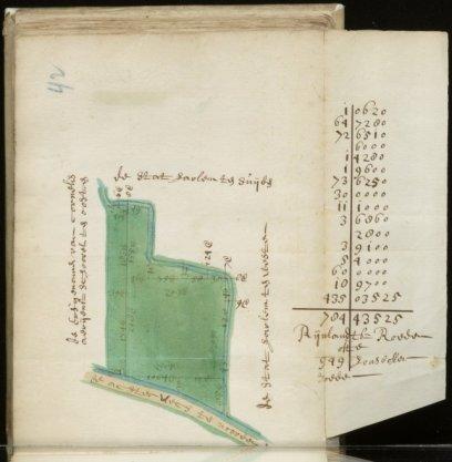 Bovenste deel van kaart 42 van kaartboek D van het Burgerweeshuis met een stuk land gelegen in de Ban van Castricum aan de Achterweg nabij het Huis Kronenburg