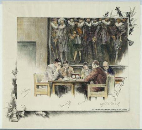 Voorstelling van de 28ste partij in de match Euwe-Aljechin om het wereldkampioenschap schaken, in de Militiezaal