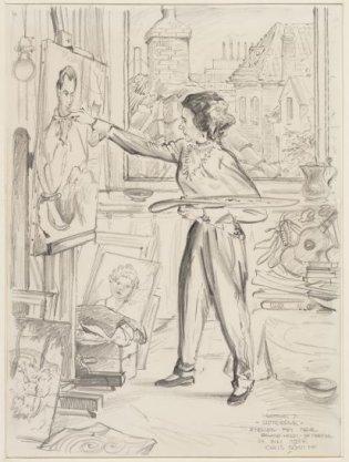 De schilderes Anna Maria Johanna Roland Holst-de Meester (1893-1987) in haar atelier, Velserweg 71, Sloterdijk
