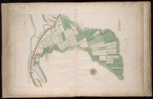 Kaart, genummerd 1, met enige tientallen percelen in bezit van de stad gelegen in de Volewijk nabij de Buiksloterdijk