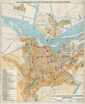Plan van Amsterdam met de plaatsen der girobussen en stortingsgelegenheden