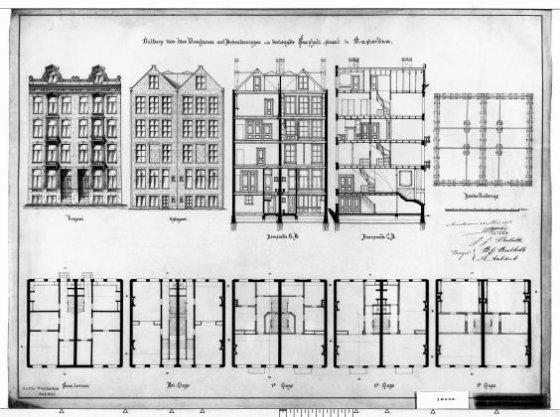 Ontwerp voor twee woonhuizen met bovenwoningen