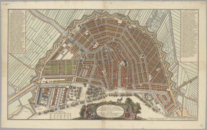 Plan de la grande et fameuse ville marchande d'Amsterdam / Plan van de wyd vermaarde en beroemde koop stad Amsterdam