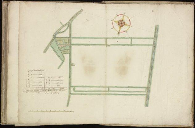 Kaart (rechtsboven genummerd) 74 van kaartboek C van het Burgerweeshuis met twee weren en enkele kavels gelegen aan de Dubbelde Wiericke benoorden Driebruggen, lopende tot de dijk naar Waarder